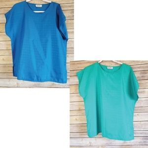 Lucky Winner Blue and Teal Simple Top Women's Sz L